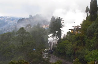 darjeeling train loco on fire