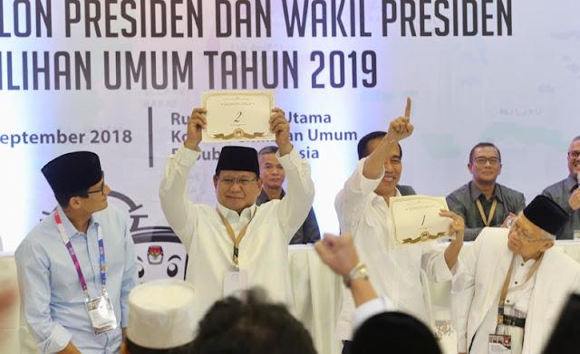 Survei IDM, Elektabilitas Prabowo-Sandi 56,39%, Jokowi-Ma'ruf 35,58%