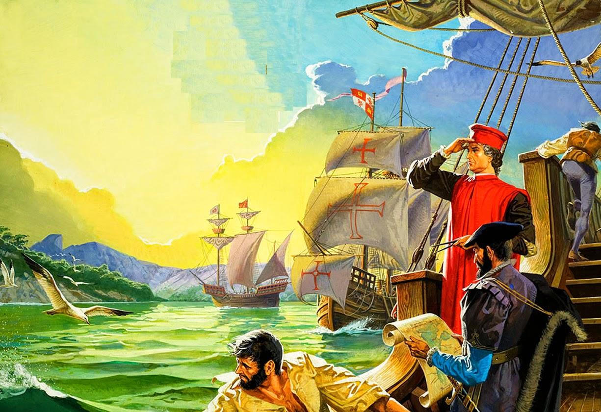 Amerigo Vespucci Sighting America (Original) art by Severino Baraldi at The Illustration Art Gallery