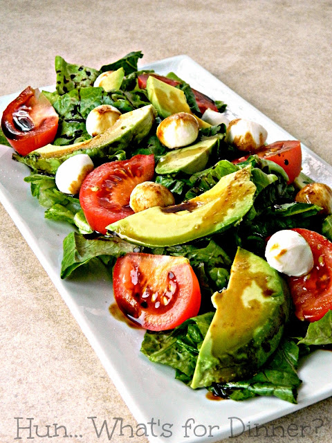 Caprese Salad with Avocado and Balsamic Reduction