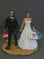 cake topper personalizzato pochette subacqueo pinne regalo sposi orme magiche