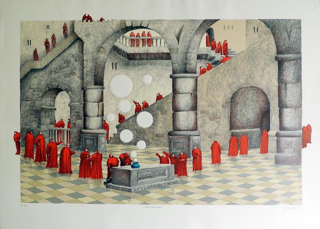 Fernando Pereznieto litografía surrealista monjes gestación