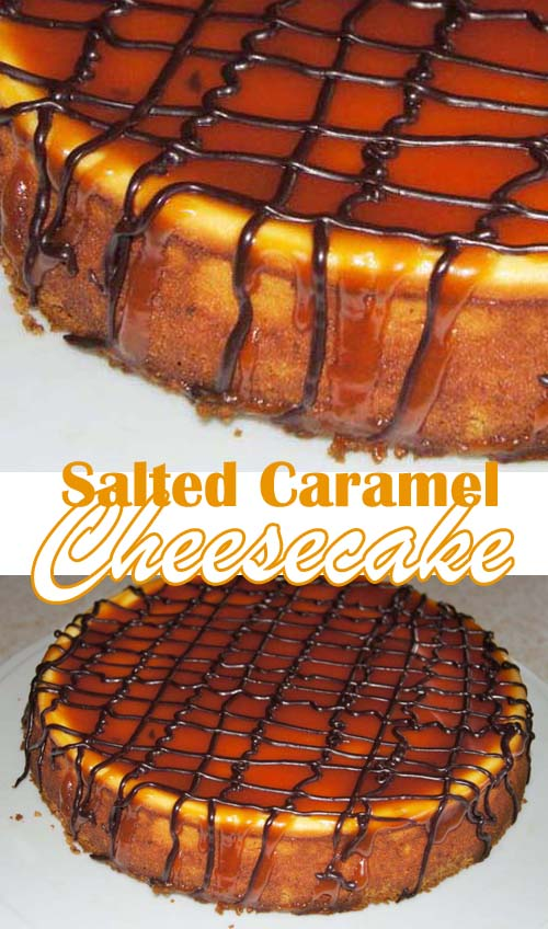 Traditional New York Cheesecake with Salted Caramel Topping #cheesecake #saltedcaramel