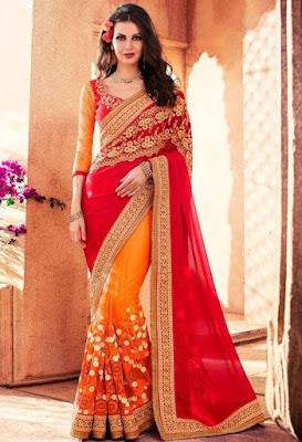 Beautiful Model Girl In Red Georgette Net Indian Saree.