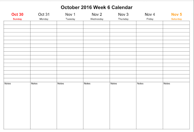 October 2016 Weekly Calendar , October 2016 Weekly Calendar  PDF, October 2016 Weekly Calendar Word, October 2016 Weekly Calendar Excel
