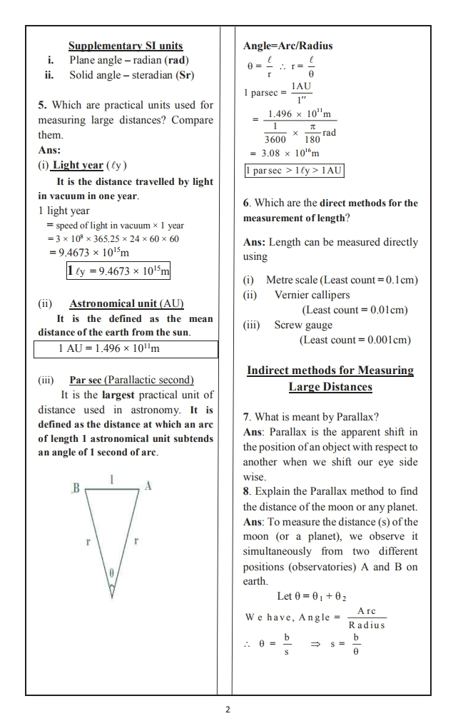 Online learning physics notes for class 11 Units And