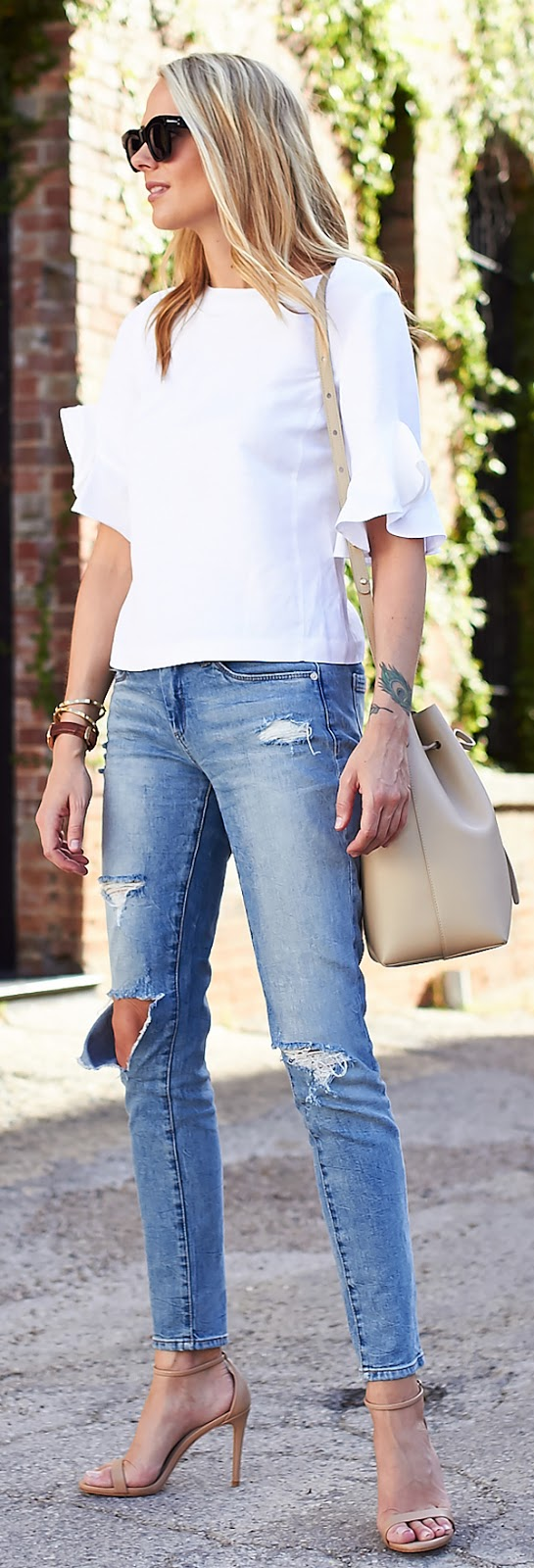 skinny jeans + blouse