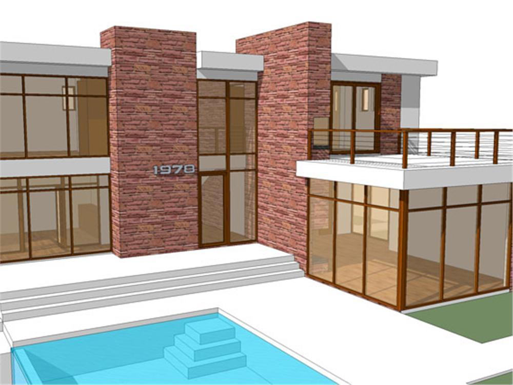 Planos y fachada de casa habitaci n moderna de 2 niveles for Casa moderna parquet