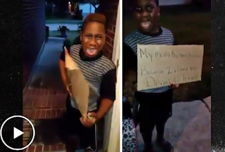 "DISGUSTING!!! Mom Kicks Her Little Boy Out Of The House For ""Voting"" For Trump--Makes Him Hold Up Sign! By The way, Where's His Father?"