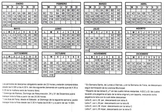calendario descanso taxi Sevilla 2017