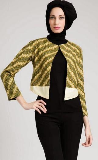 Desain baju batik muslim modern untuk kerja