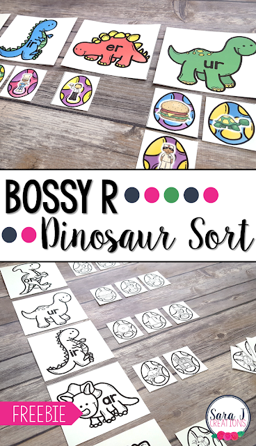 Free bossy r (r-controlled vowels) dinosaur sort. Makes the perfect literacy center for first or second grade.