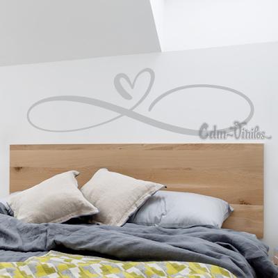 vinilo decorativo pared infinito corazon amor respaldo cama sommier decoracion dormitorio