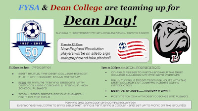 FYSA & Dean College are teaming up for Dean Day - Sep 17