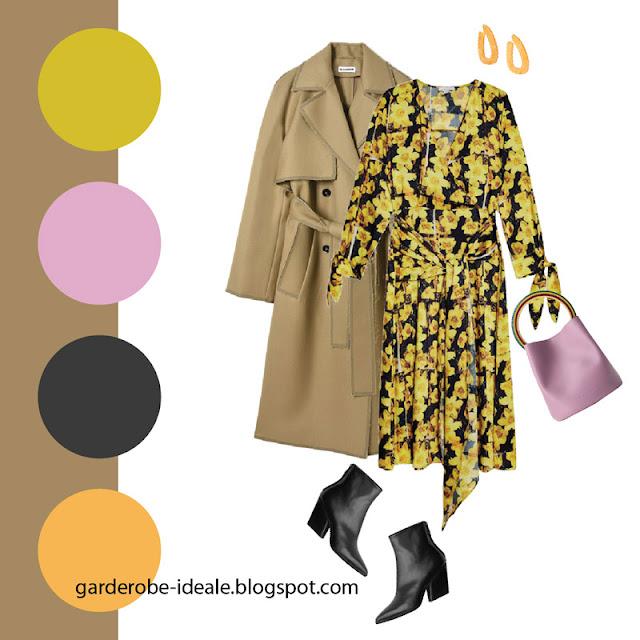 Тренч оверсайз цвета хаки с желтым платьем с цветочным принтом