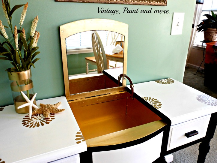 Vintage, Paint and more... vanity made glamorous with gold paint and stencils