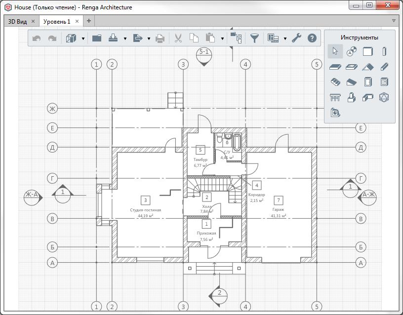 Отображение плана уровня в Renga 2.9