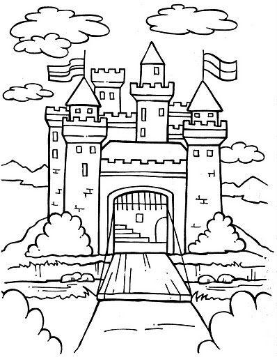 Tranh cho bé tô màu lâu đài