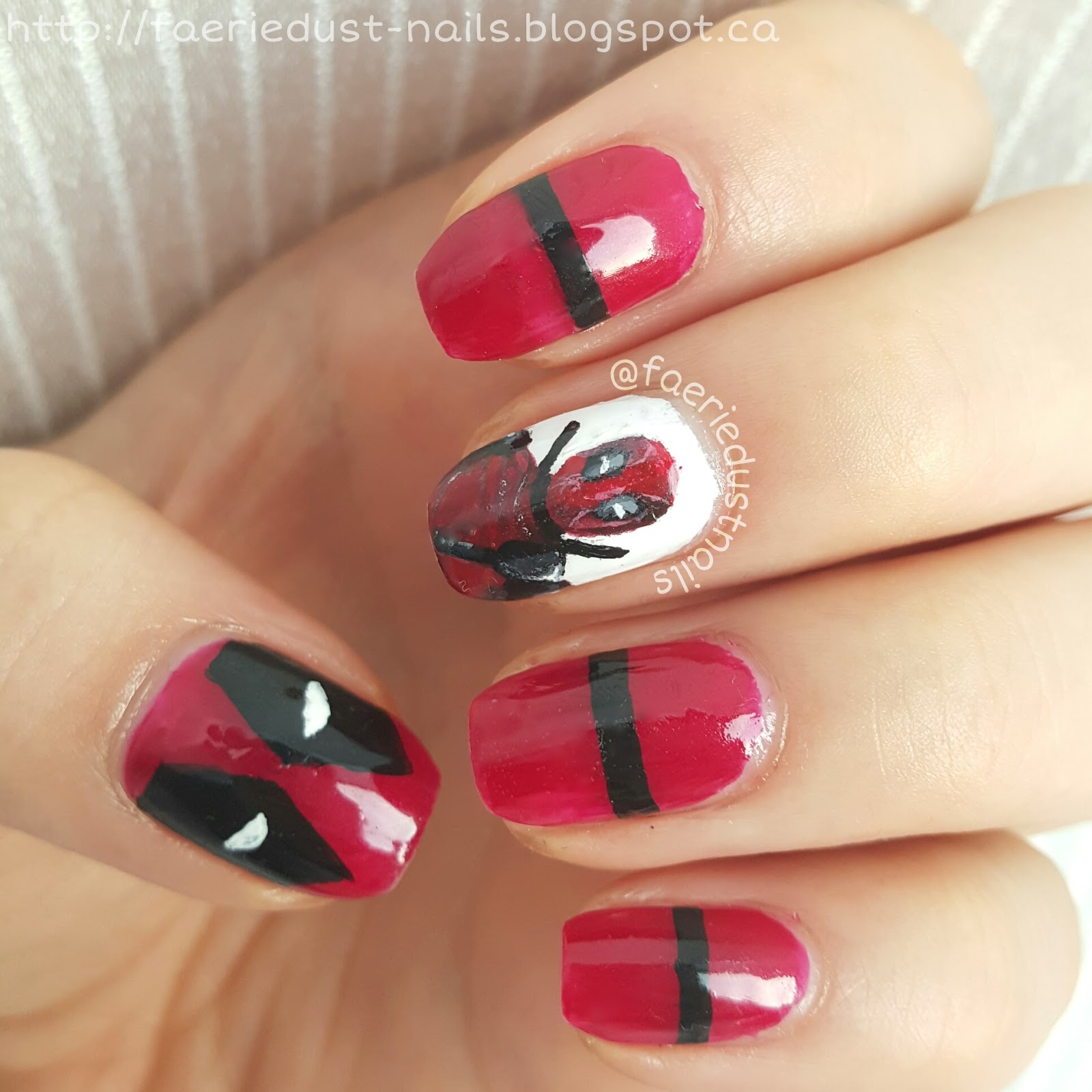 FaerieDust Nails: Deadpool Nails (With Pictorial)