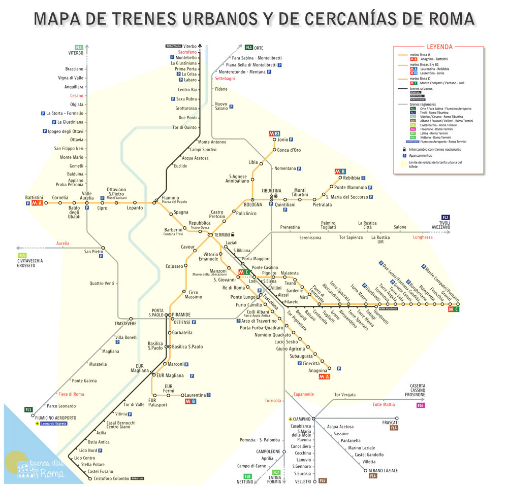 Mapa de trenes urbanos y de cercanías en Roma