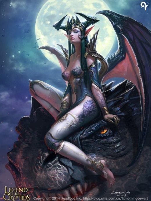Liang Xing deviantart ilustrações fantasia mulheres sensuais card games legend cryptids