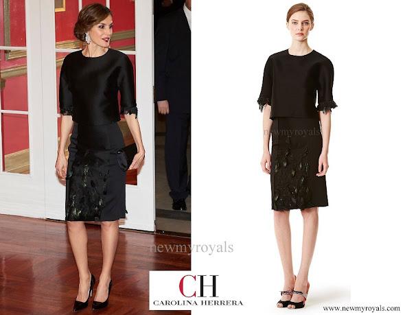 Queen Letizia wore Carolina Herrera Dress from Pre Fall 2015 Collection