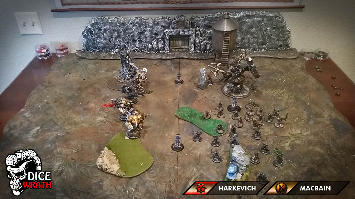 Bottom of Turn 1: Mercenaries - The Nyss activate first and move up to take  a combined shot against the Devastator. They do a few damage but nothing ...