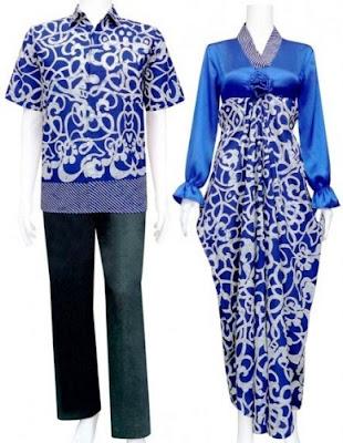 Gamis+Batik+Sarimbit+Pasangan+Model+Kaftan+Salur+biru