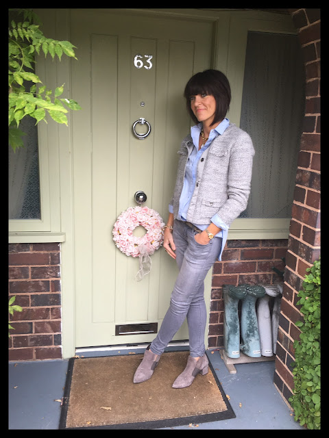 My Midlife Fashion, Chambray shirt, boucle, knitted jacket, zara grey skinny jeans, zapita, shoe boots