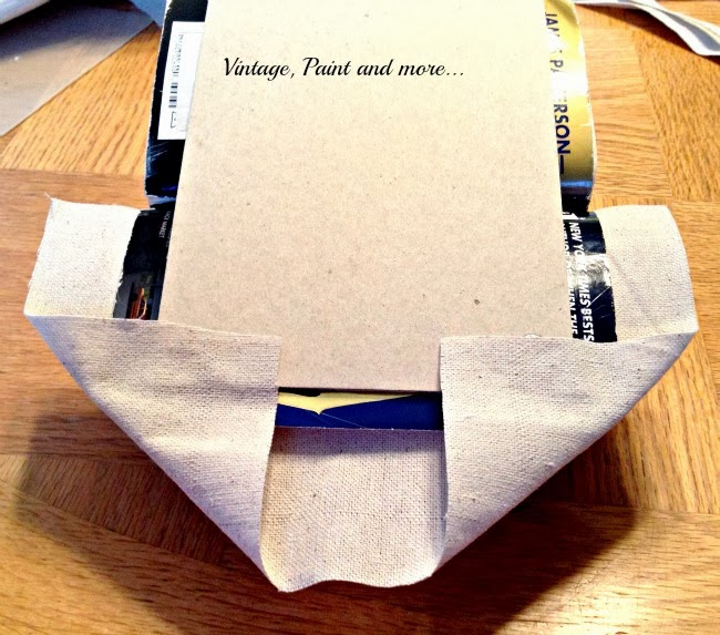 Book Page Note Holder - image of drop cloth being glued to cardboard backing.