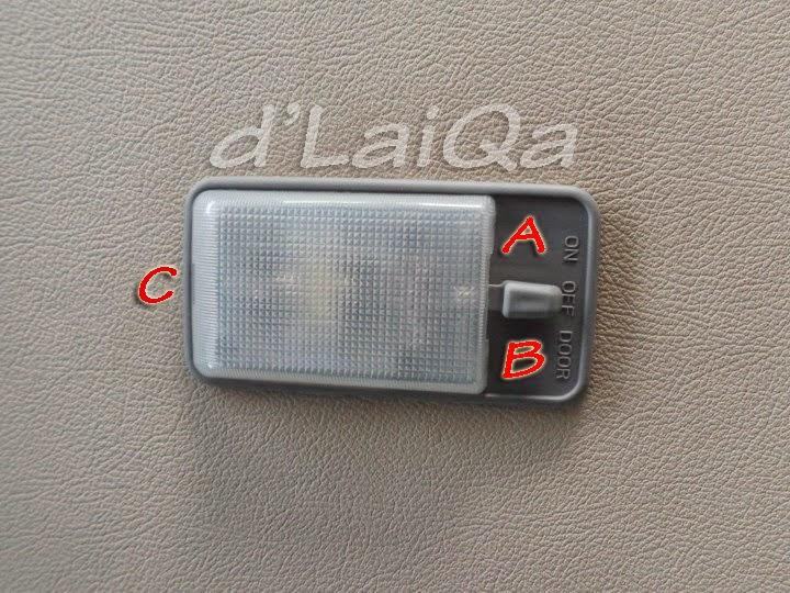 A, B, C adalah kuncian plastik mika lampu kabin