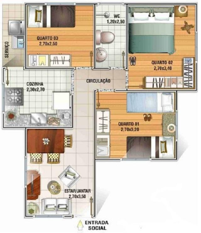 Plano De Casa De 51 M2 Planos De Casas Gratis Y