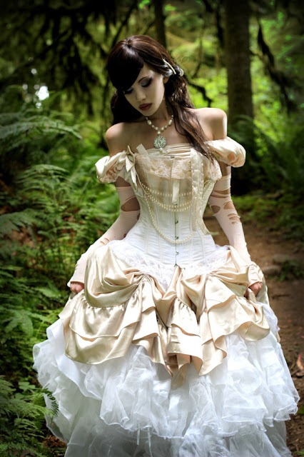 Steampunk Victorian clothing - a victorian dress, or skirt corset combo, in whites and creams with pearls