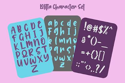 masuk dalam kategori Display yang mempunyai huruf happy Lolitta Fun Display Font | download font free