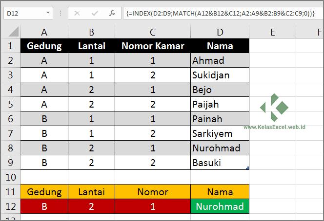 VLookup Banyak Kriteria Untuk Pencarian