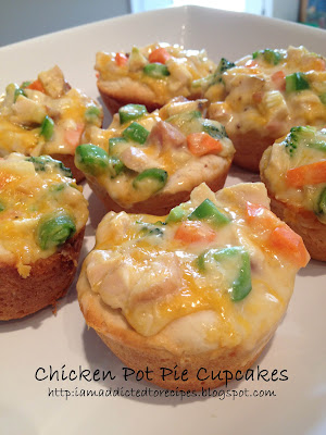 My boys just love these! Chicken Pot Pie Cupcakes