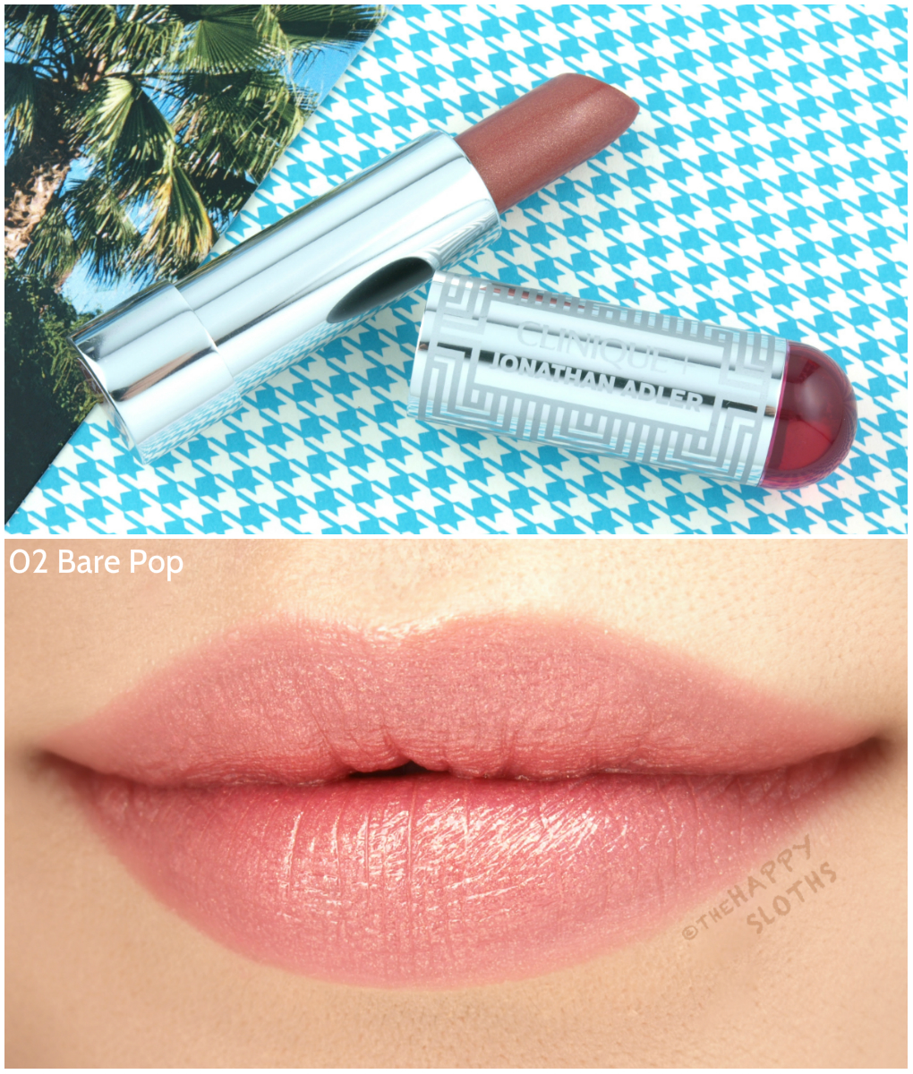 """Clinique + Jonathan Adler Collection   Lip Color + Primer Lipstick in """"02 Bare Pop"""": Review and Swatches"""