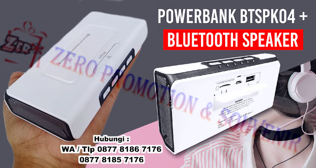 Power Bank Speaker 5200 mAh BTSPK04, Bluetooth Speaker Tipe BTSPK04, Souvenir Bluetooth Power Bank Speaker dengan harga terjangkau