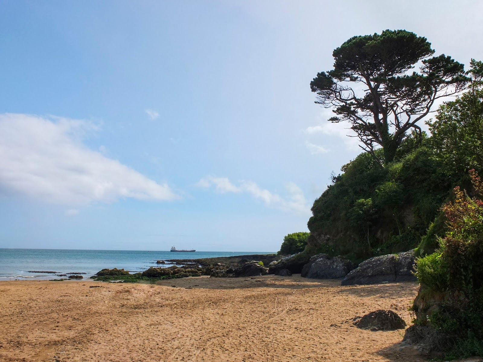 A beach cove in Fountainstown, County Cork on a sunny August day.