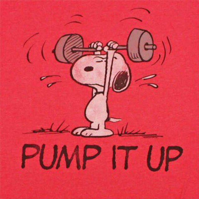 Snoopy lifting weights. Pump it Up.Does sighing count as exercise?