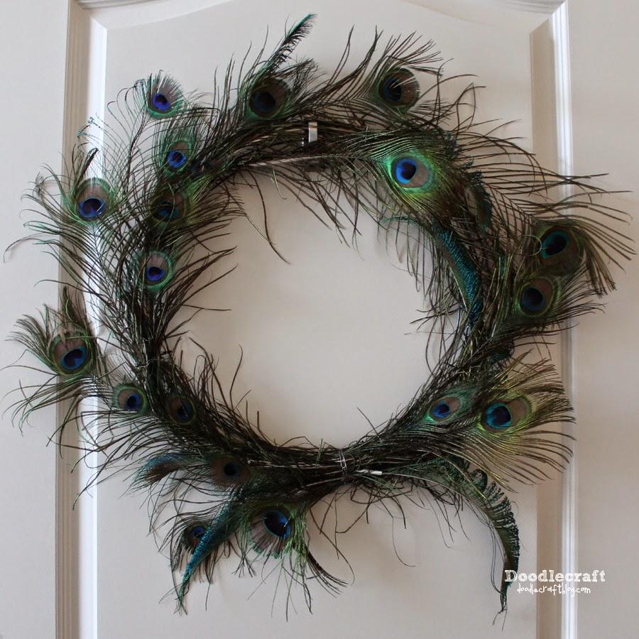 Glitter Peacock Feathers Pinwheel Hair Bow 4
