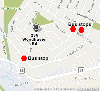 Map of bus stops near the Indigenous Child and Family Centre