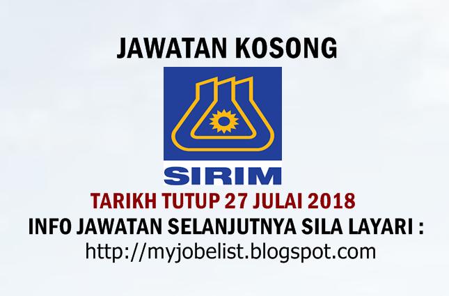 Jawatan Kosong SIRIM Berhad Julai 2018