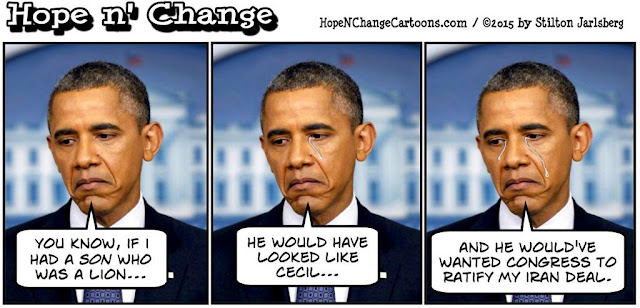 obama, obama jokes, political, humor, cartoon, conservative, hope n' change, hope and change, stilton jarlsberg, cecil, lion, iran, nuclear, deal