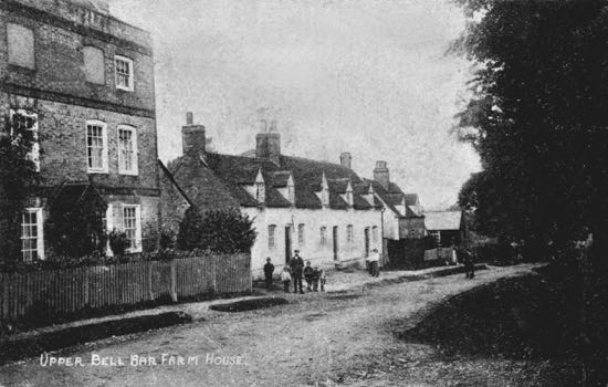 Photograph of Early 1900s postcard showing Carpenters Cottage far right and cottages now demolished in the centre NMLHS Images of North Mymms Collection
