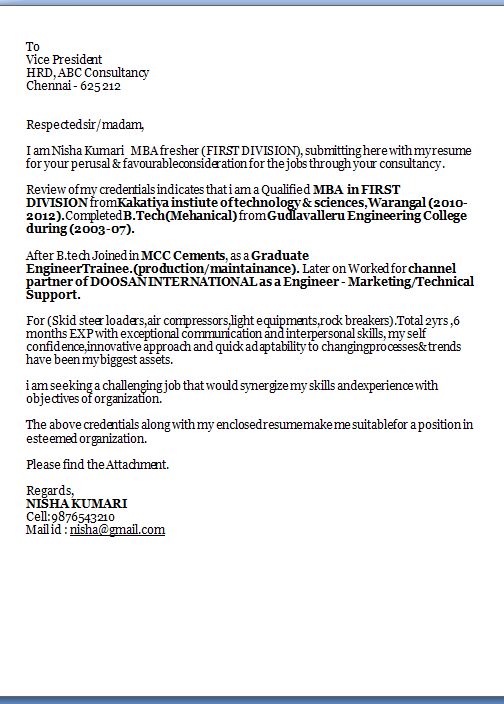 cv cover letter example