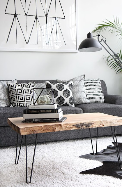 black and white patterned pillows, Scandinavian living room,