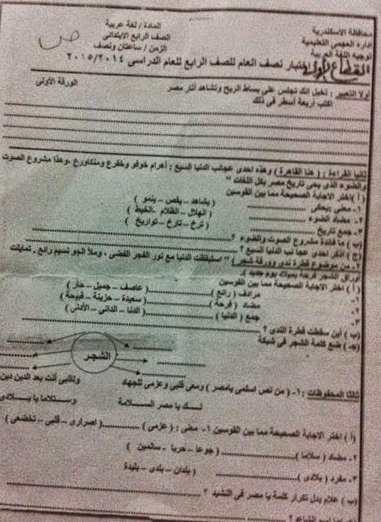 امتحانات كل مواد الصف الرابع الابتدائي الترم الأول 2015 مدارس مصر حكومى و لغات 10896875_76792179662