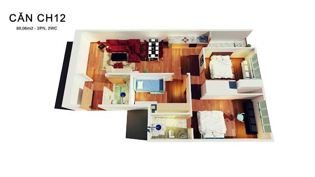 Thiết kế căn hộ số 12 tháp doanh nhân