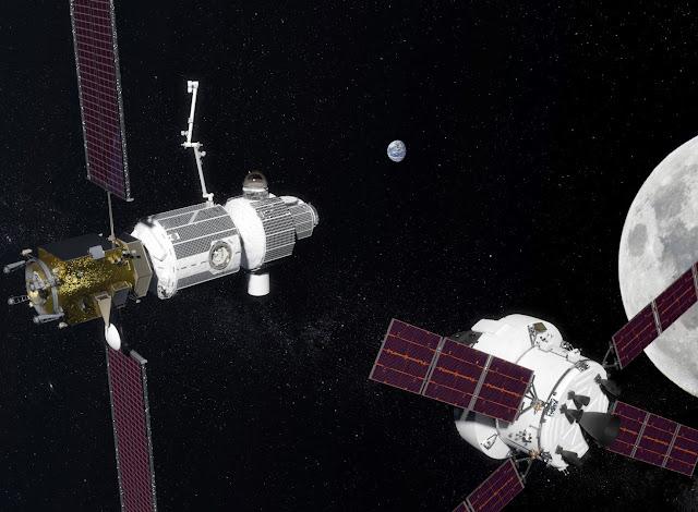 Trạm không gian chuyển động quanh Mặt Trăng sẽ trở thành trạm trung chuyển cho các sứ mệnh không gian xa hơn trong tương lai. Hình ảnh: NASA.